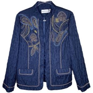 Alfred Dunner Navy & Gold Embroidered Jacket Sz 12